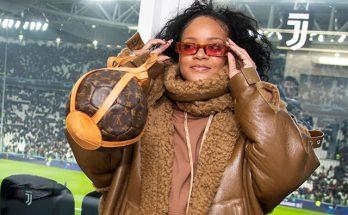 Рианна на футбольном матче Лиги чемпионов в Италии