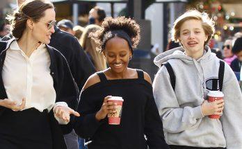 Анджелина Джоли с дочками устроила предпраздничный шопинг