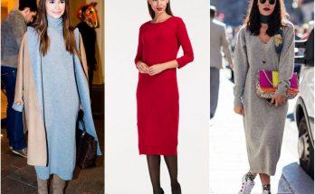 Три трендовых способа носить вязаное платье в офис