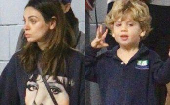 Мила Кунис с сыном на прогулке в Лос-Анджелесе