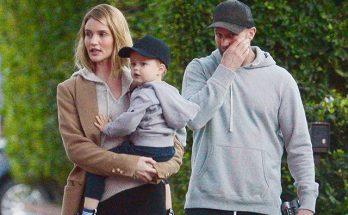 Джейсон Стэтхем c сыном и женой на прогулке в Лос-Анджелесе