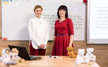 Елена Зеленская в элегантном образе приняла участие в съемках онлайн-урока