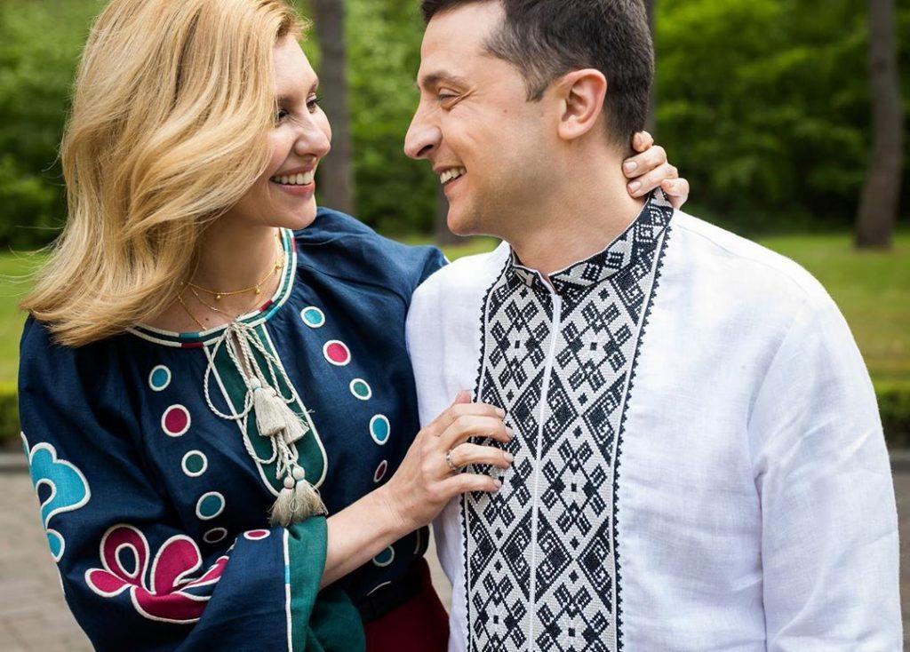 Владимир и Елена Зеленские надели украинские вышиванки