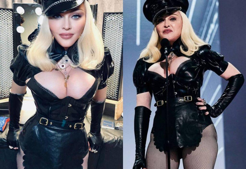 Как выглядит Мадонна в корсете и колготах в сетку?